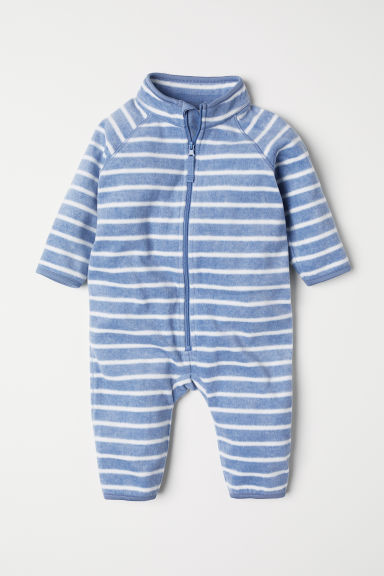 Fleece all-in-one suit - Blue/White striped - Kids | H&M