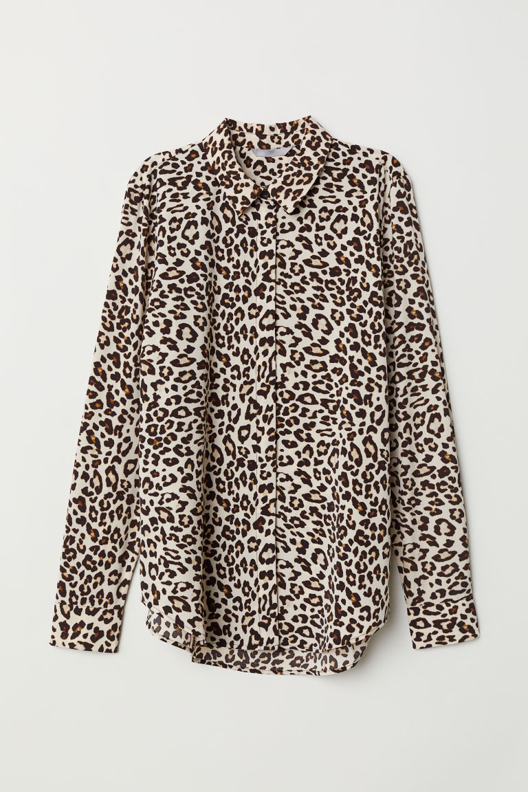 Long-sleeved Blouse - Light beige/leopard print - Ladies | H&M CA