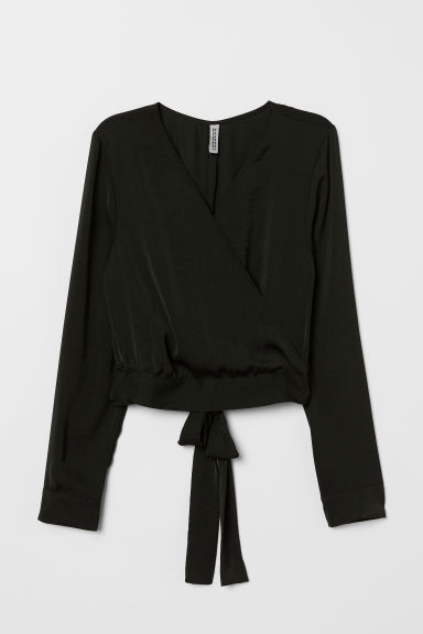Blouse with ties - Black -  | H&M CN