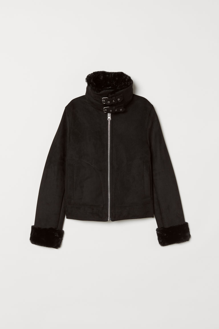 Jacket with a faux fur lining - Black -  | H&M