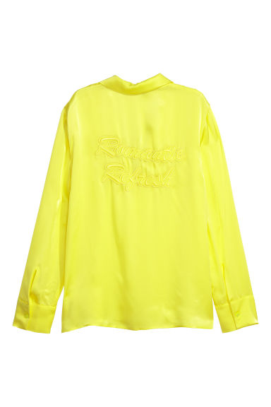 Satin shirt - Neon yellow - Ladies | H&M