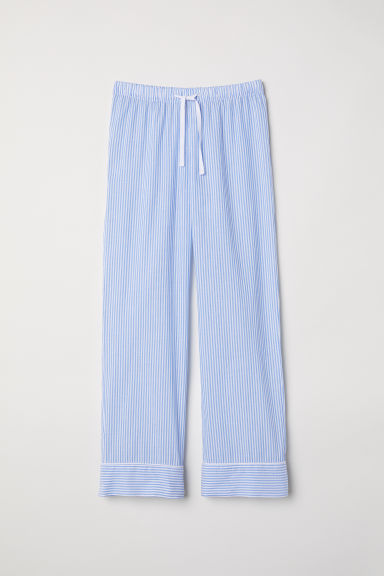 Cotton pyjama bottoms - Light blue/Striped - Ladies | H&M GB