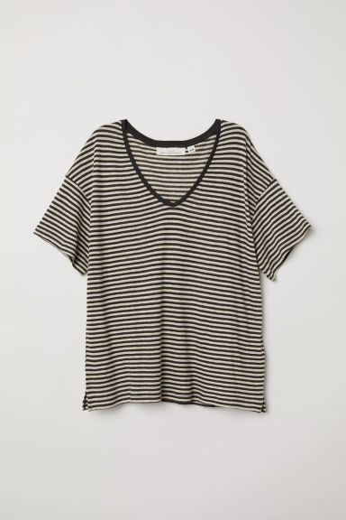 V-neck linen-blend T-shirt - Dark grey/Striped - Ladies | H&M