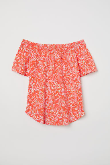 Off-the-shoulder top - Coral/Patterned -  | H&M CN