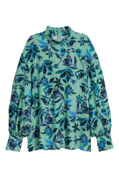 Blouse with a stand-up collar - Green/Patterned -  | H&M