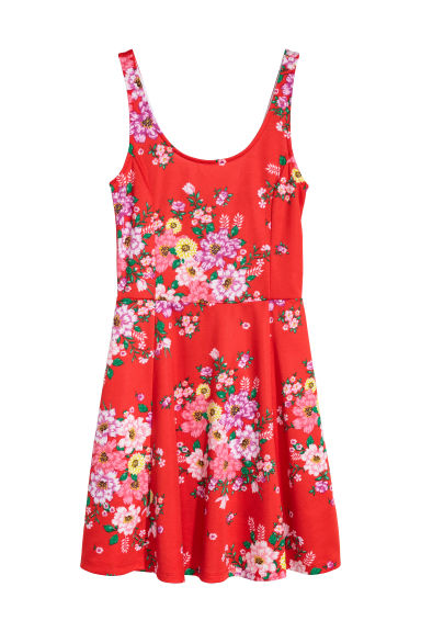 Jersey dress - Bright red/Floral -  | H&M CN