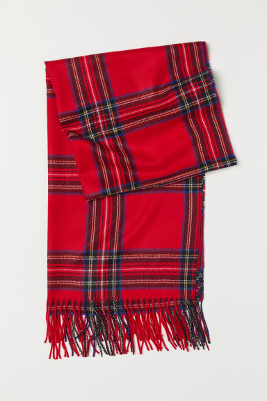 Woven scarf - Red/Checked - Ladies | H&M