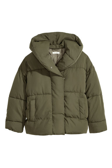 Padded jacket with a hood - Khaki green - Ladies | H&M GB