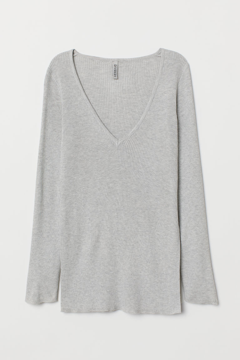 Rib-knit jumper - Light grey marl -  | H&M