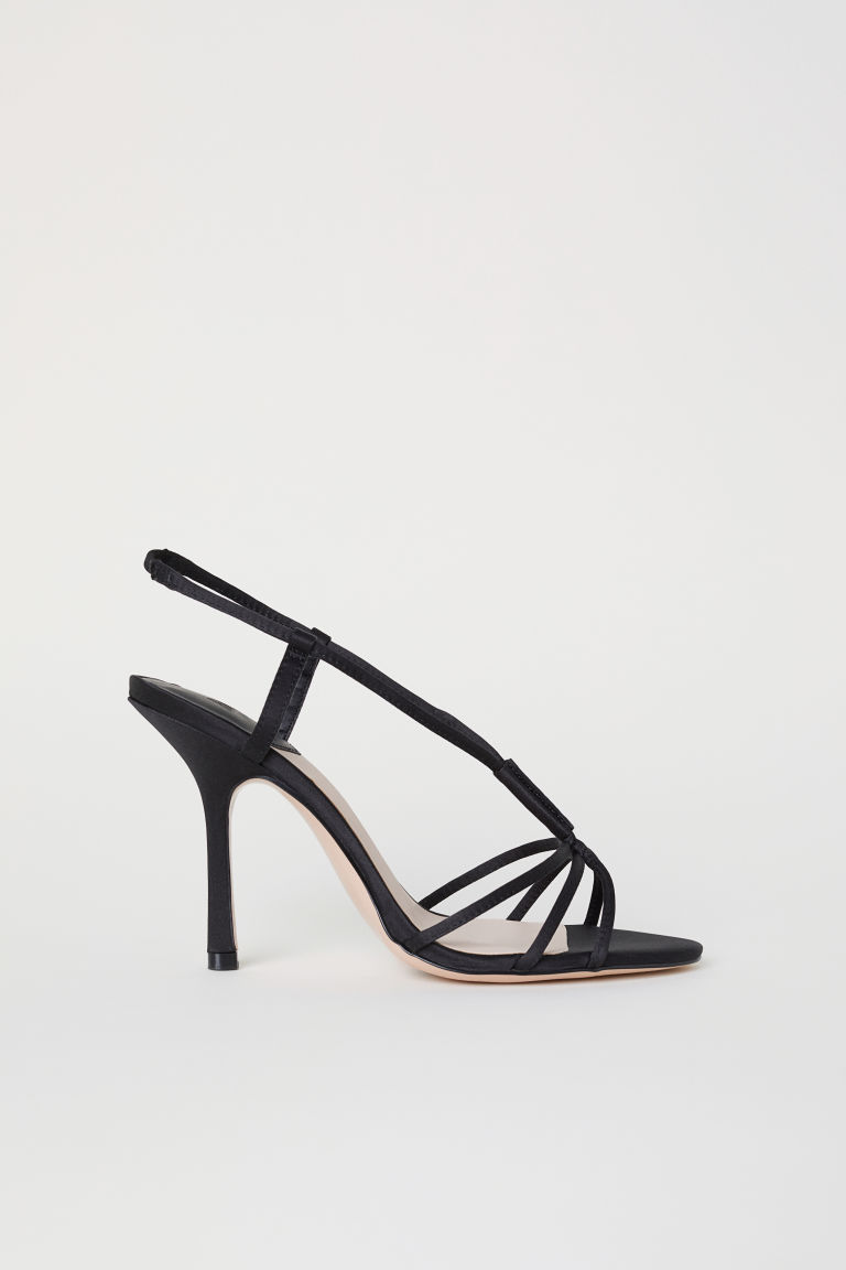 Satin sandals - Black - Ladies | H&M