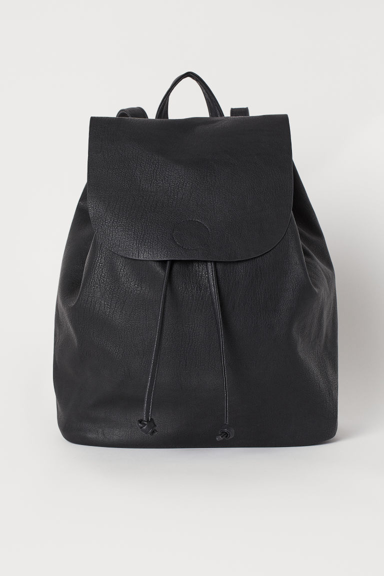 Backpack with a flap - Black - Ladies | H&M
