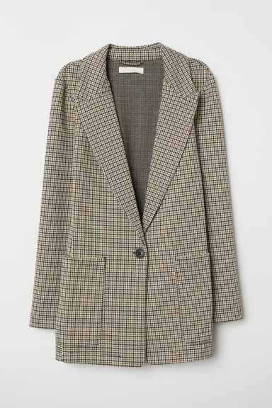 Jersey jacket - Beige/Checked - Ladies | H&M