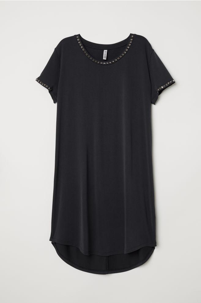 f6f38553b6 ... T-shirt dress with studs - Black - Ladies