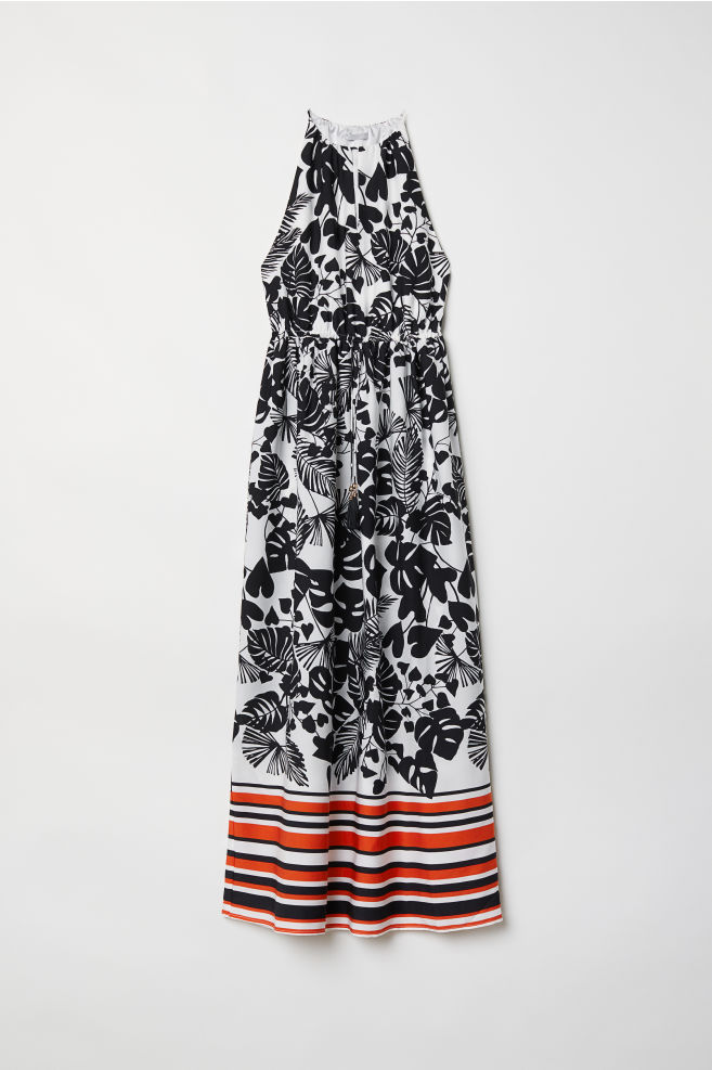 eb4d48de96a87c Mouwloze maxi-jurk - Wit zwart dessin - DAMES