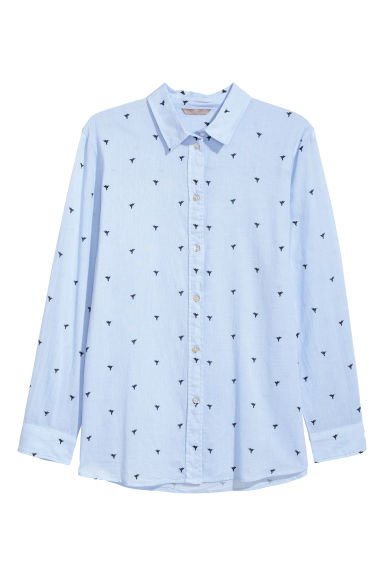 H&M+ Cotton shirt - Light blue/Birds - Ladies | H&M
