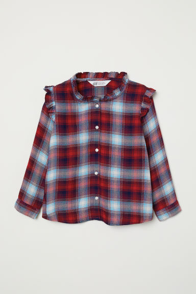 Shirt with frills - Red/Checked - Kids | H&M