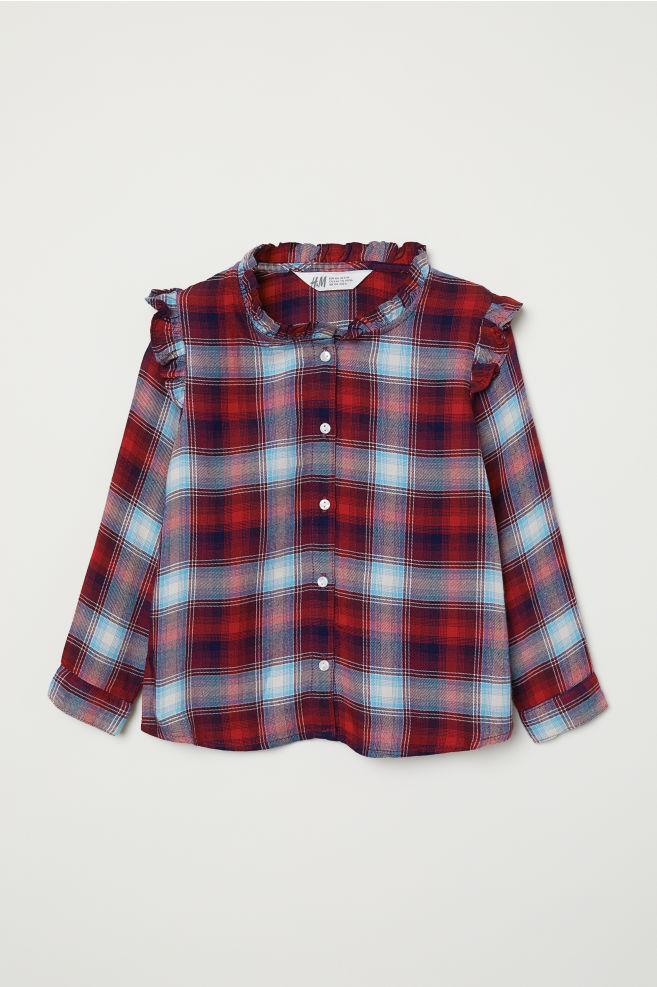 883d88090d26 Skjorta med volang - Röd/Rutig - BARN   H&M ...