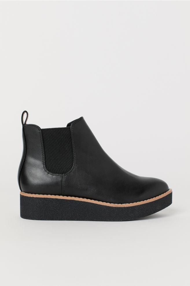 9b27e839710 Faux Leather Ankle Boots - Black -