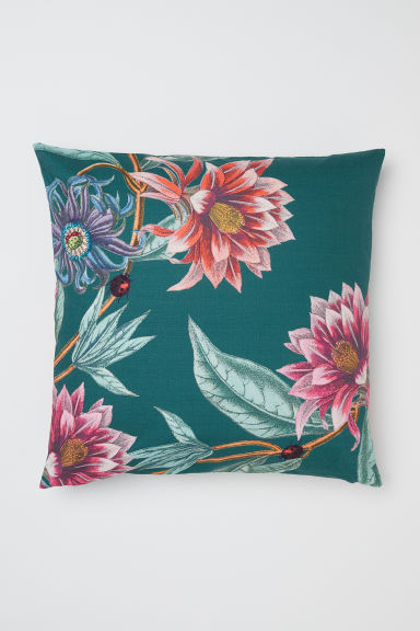 Patterned cushion cover - Dark green/Floral - Home All | H&M CN