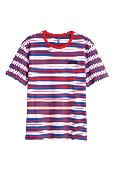 Striped T-shirt - Red/Multicoloured - Men | H&M