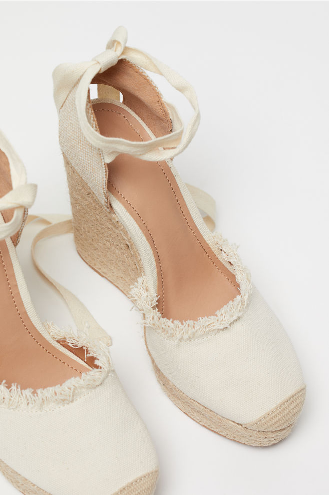 12ca14192 ... Wedge-heel Platform Sandals - Light beige - Ladies | H&M ...