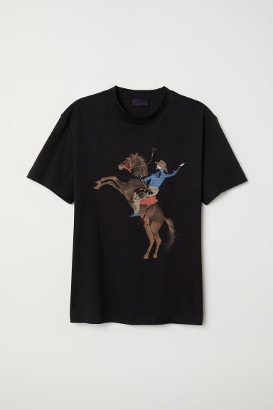 T-shirt with a motif - Black/Cowboy -  | H&M CN