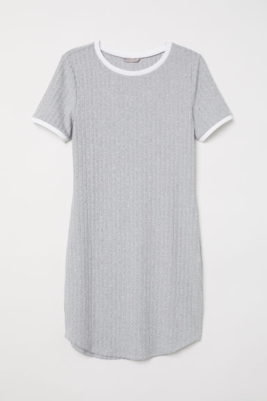 H&M+ Ribbed dress - Light grey marl - Ladies | H&M CN