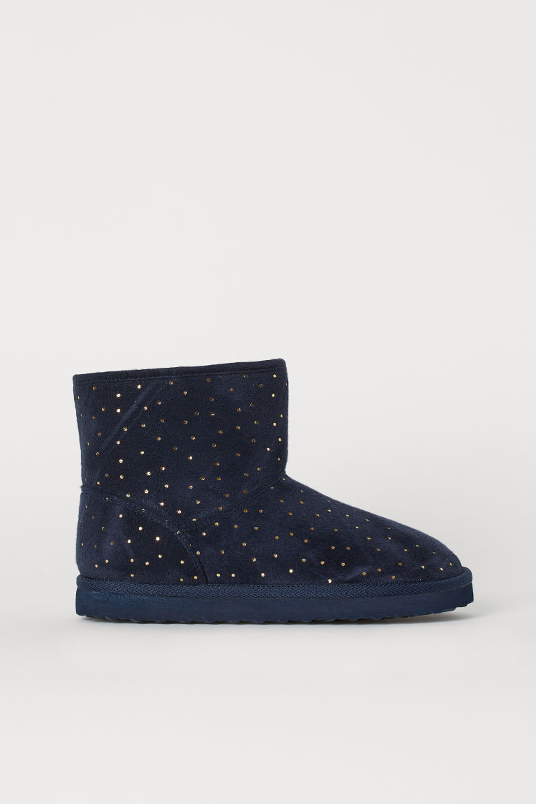 Warm-lined Boots - Dark blue/gold-colored dots - Kids | H&M CA