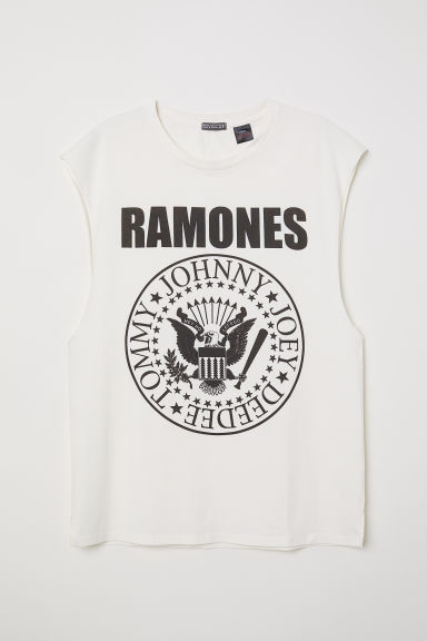 T-shirt with cut-off sleeves - White/Ramones - Men | H&M CN