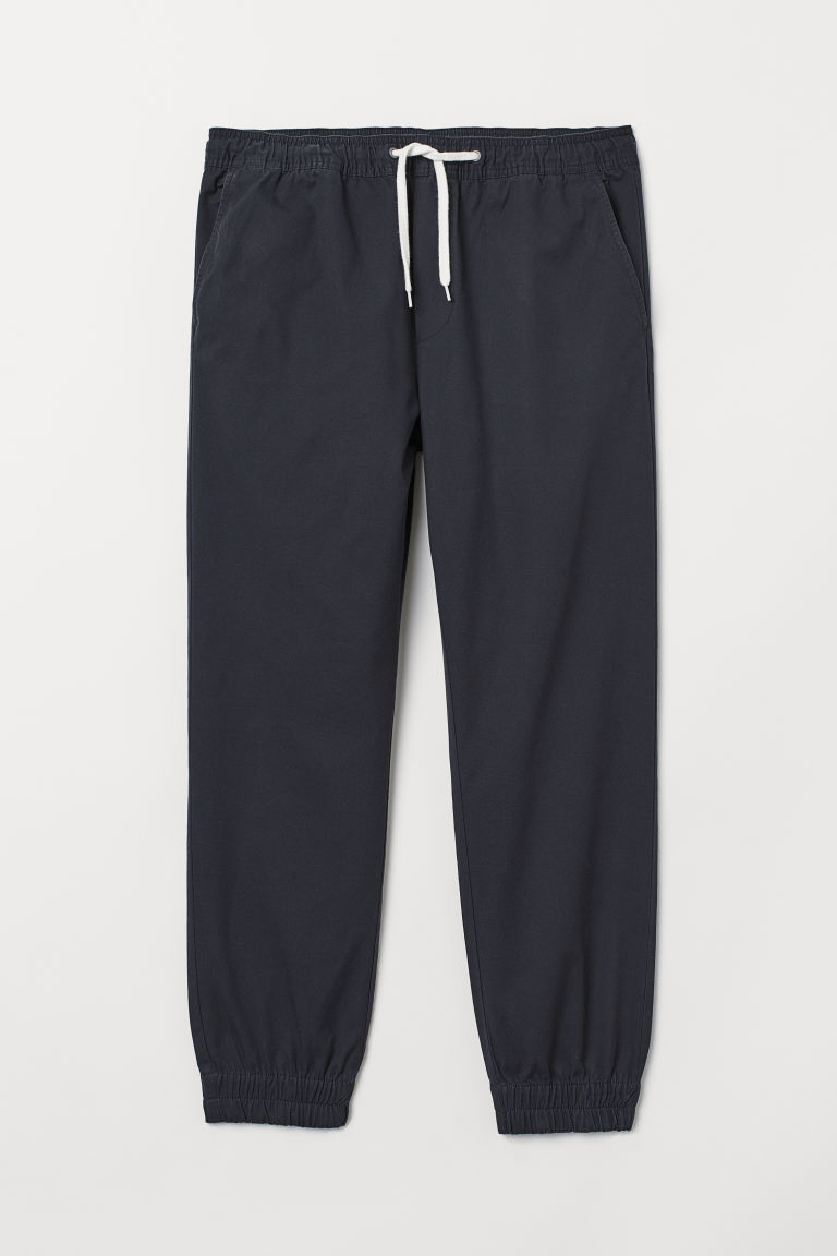 Cotton twill joggers - Dark blue - Men | H&M