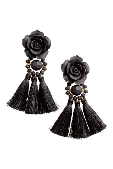 Tasselled earrings - Black -  | H&M CN