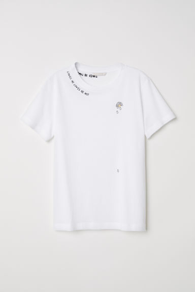 T-shirt with embroidery - White - Ladies | H&M CN