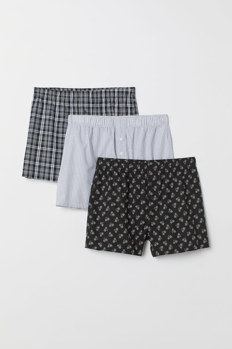 3-pack woven boxer shorts - Black/Palm trees - Men | H&M IN