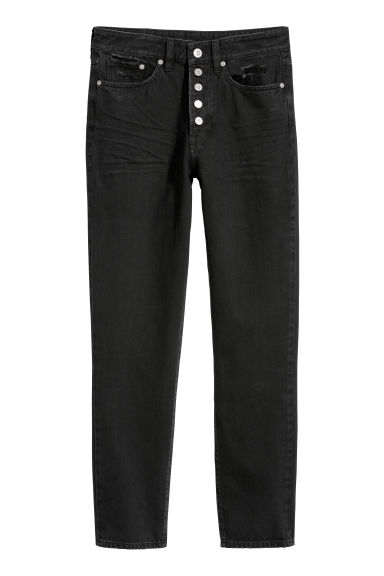 Mom Jeans - Black denim - Ladies | H&M