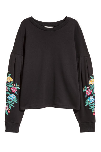 Embroidered sweatshirt - Black/Flowers -  | H&M