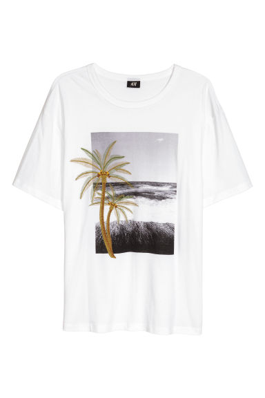 T-shirt with embroidery - White -  | H&M CN