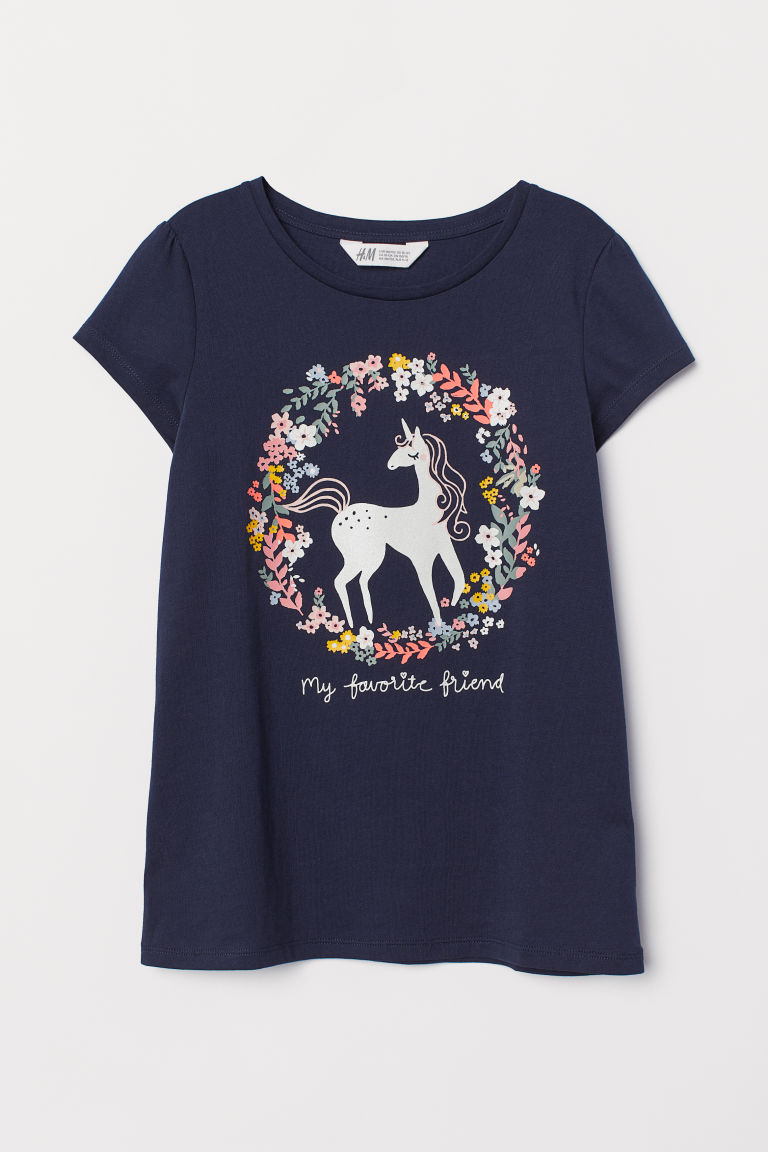 Printed jersey top - Dark blue/Unicorn - Kids | H&M CN