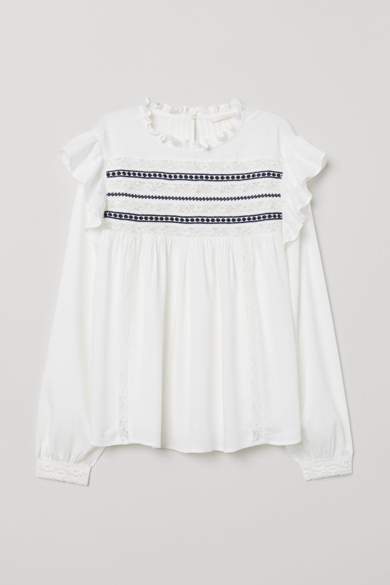 Blouse with lace trims - White - Ladies | H&M CN
