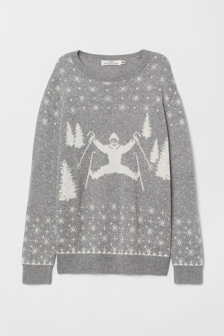 Fine-knit Sweater - Gray/skiers - Ladies | H&M US