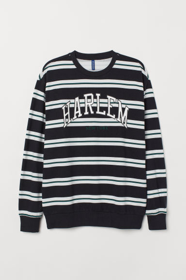 Sweatshirt with a motif - Black/Harlem - Men | H&M CN