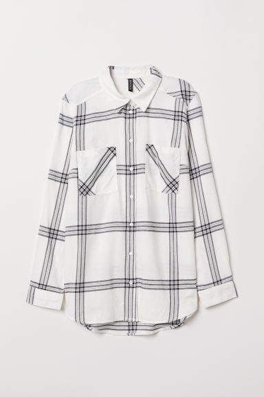Cotton shirt - White/Black checked - Ladies | H&M