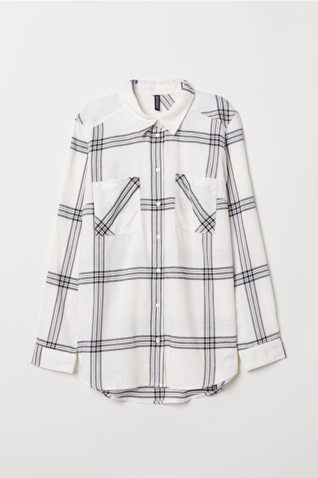 6c1c8e08 Cotton Shirt - White/black checked - Ladies | H&M ...