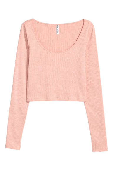 Ribbed top - Powder pink -  | H&M
