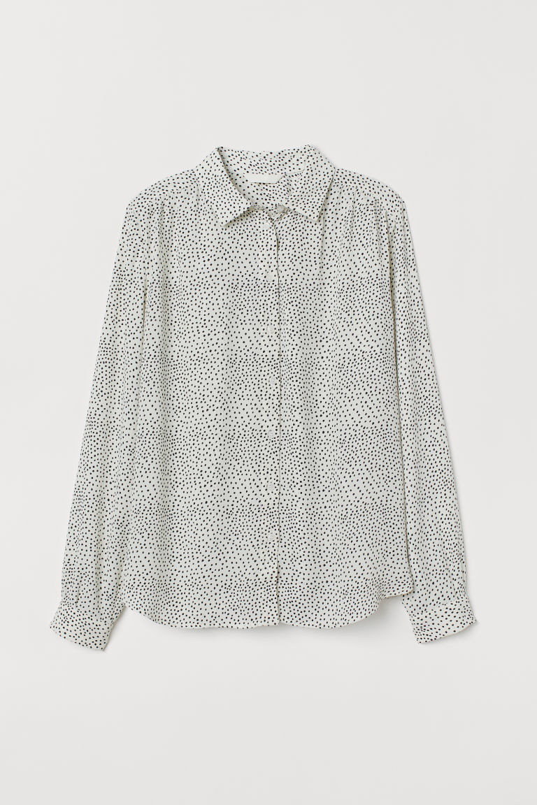 Long-sleeved blouse - Natural white/Spotted - Ladies | H&M GB