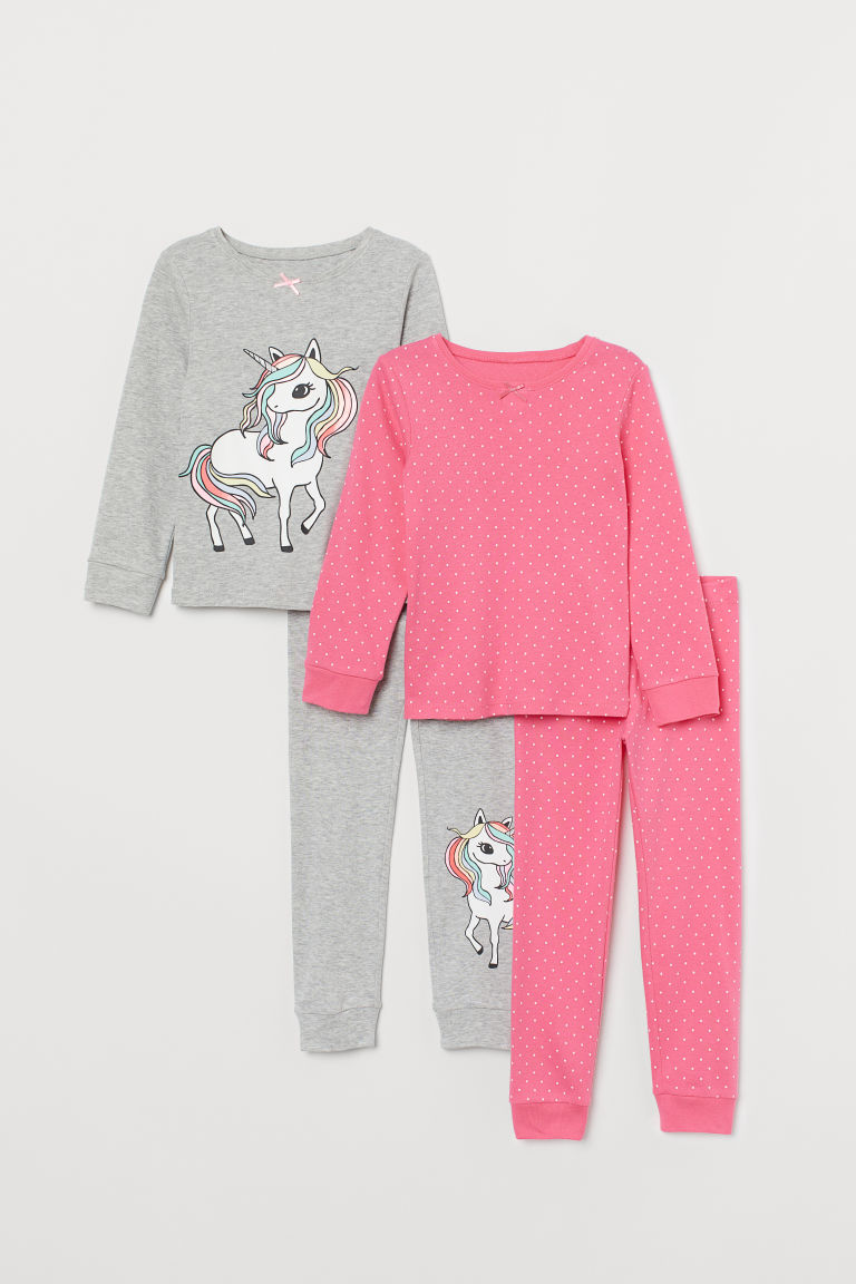 2-pack jersey pyjamas - Pink/Unicorn - Kids | H&M