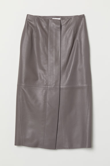 Knee-length leather skirt - Grey - Ladies | H&M