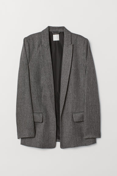 Straight-cut jacket - Black/White marl -  | H&M CN