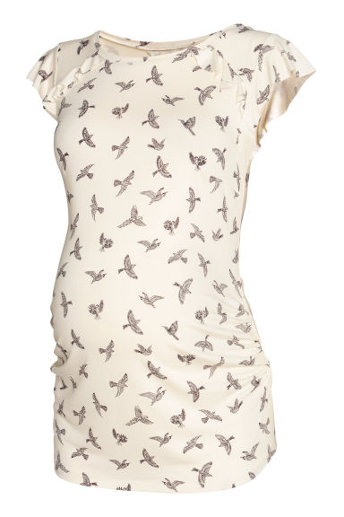 MAMA Flounce-sleeve jersey top - Natural white/Birds - Ladies | H&M IE