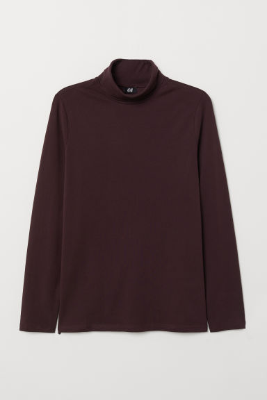 Polo-neck top Muscle Fit - Burgundy - Men | H&M