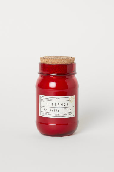 Scented candle in a glass jar - Dark red/Cinnamon - Home All | H&M GB
